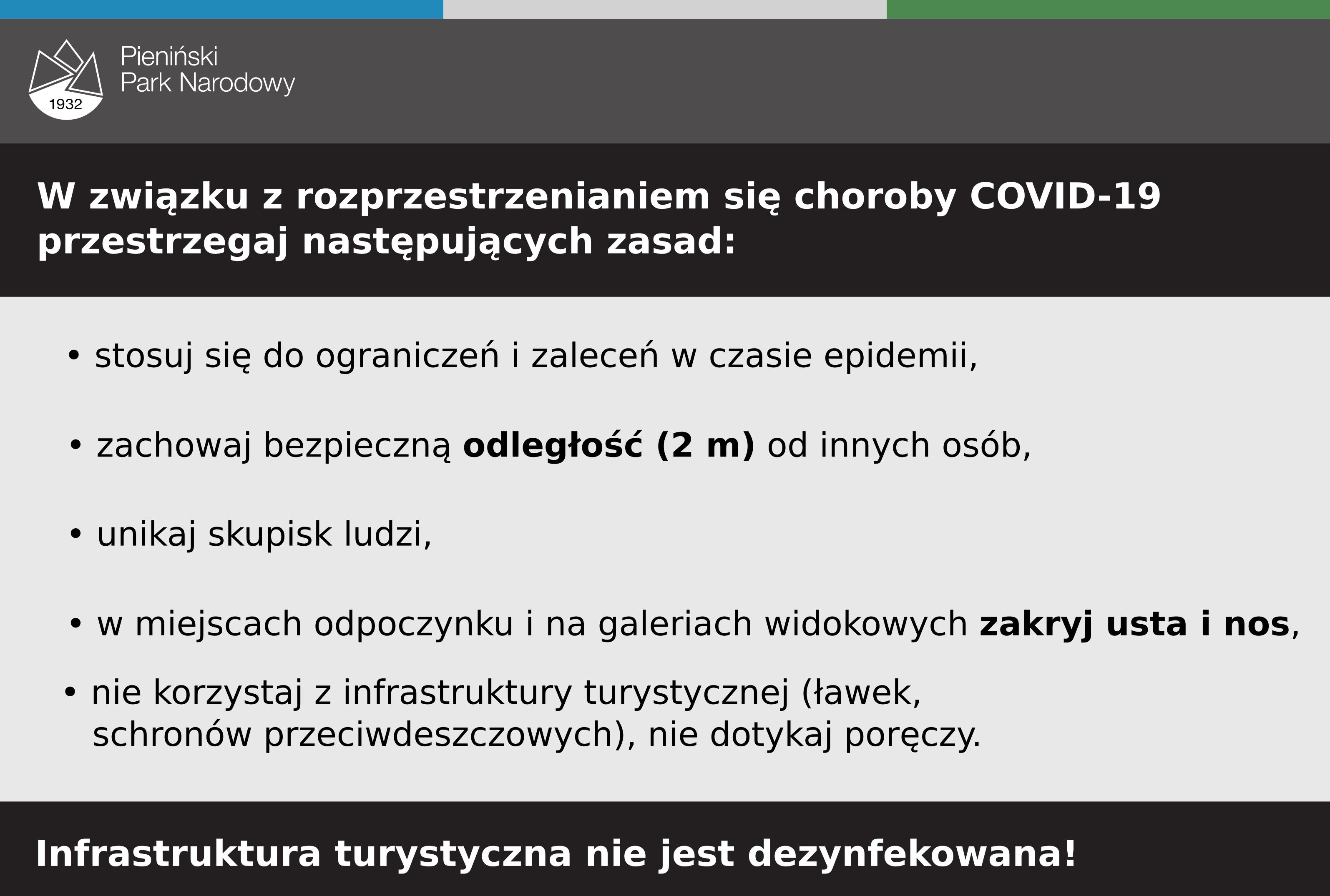 Informacje dotyczące zasad w czasach epidemii - dostępne też w komunikacie o warunkach na szlakach