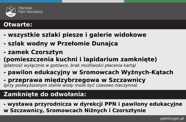 zamknięte do odwołania: wystawa przyrodnicza, pawilony edukacyjne w Szczawnicy, Sromowcach Niżnych i Czorsztynie